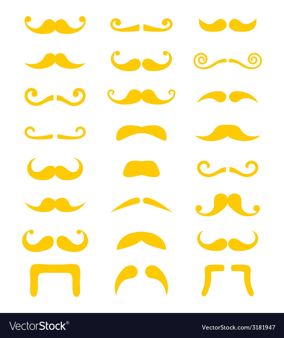 Blond moustache or mustache icons set vector | Price: 1 Credit (USD $1)