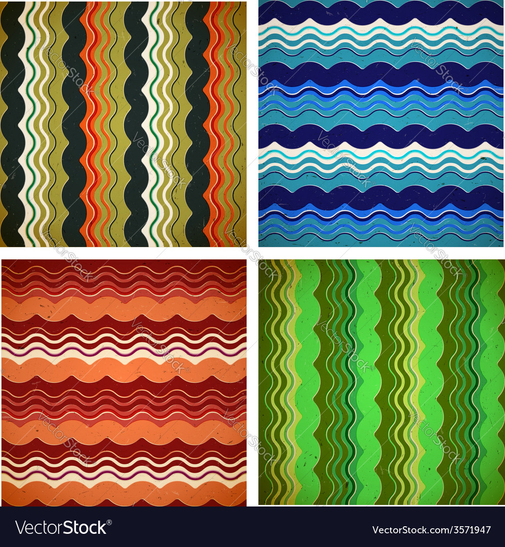 Collection of aged wavy patterns vector | Price: 1 Credit (USD $1)