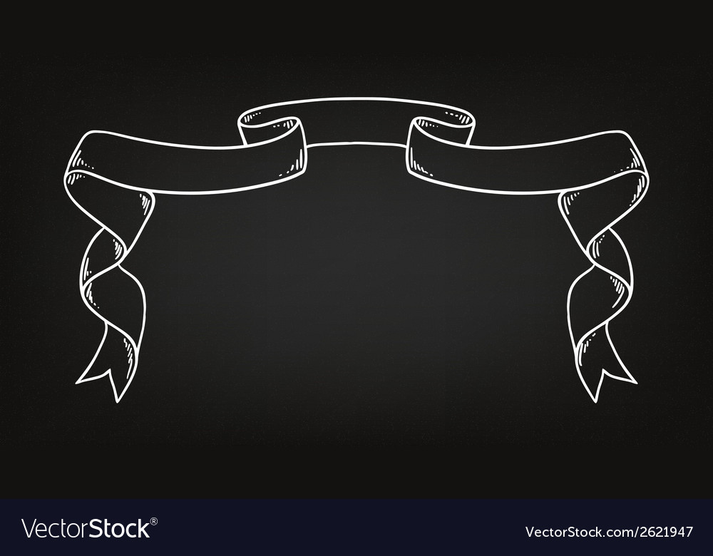 Hand drawn ribbon on the blackboard vector | Price: 1 Credit (USD $1)