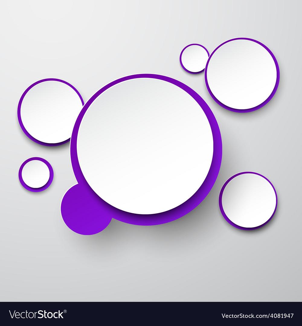 Paper white-violet round speech bubbles vector | Price: 1 Credit (USD $1)