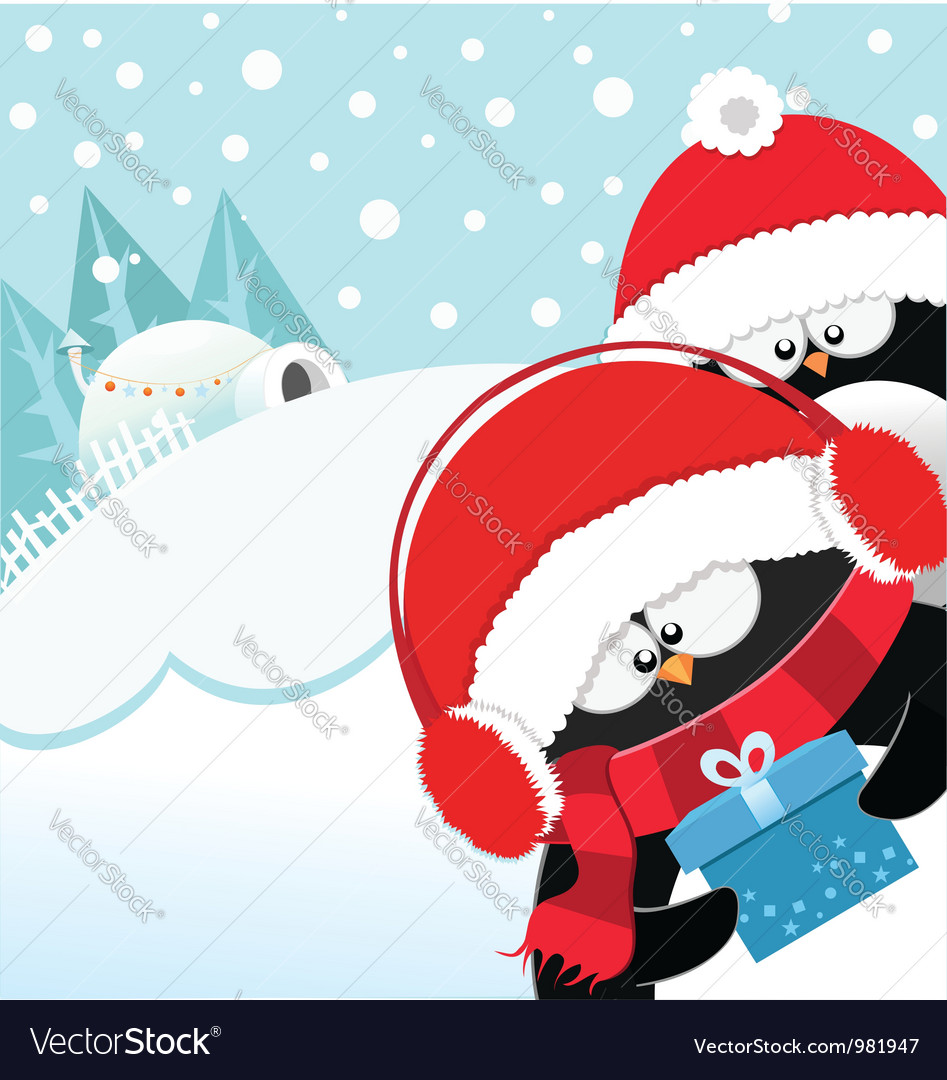 Penguins with gift vector | Price: 1 Credit (USD $1)