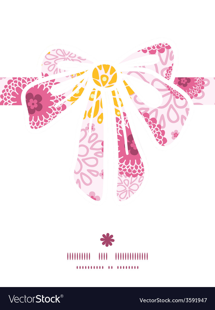Pink field flowers gift bow silhouette pattern vector | Price: 1 Credit (USD $1)