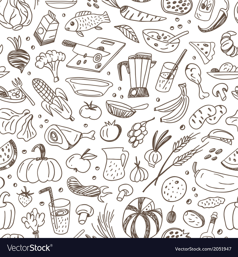 Raw food - seamless background vector | Price: 1 Credit (USD $1)