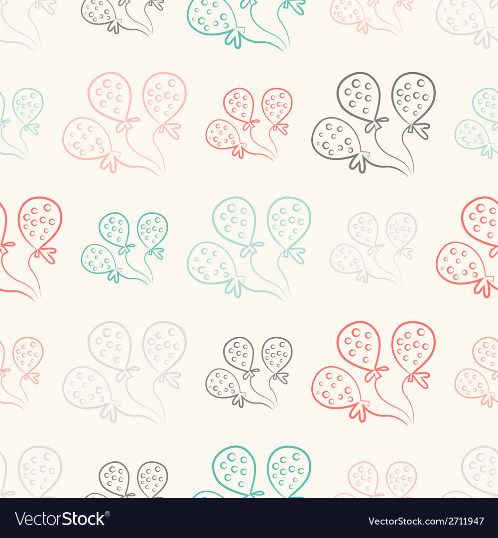 Seamless pattern with balloons vintage doodle vector | Price: 1 Credit (USD $1)