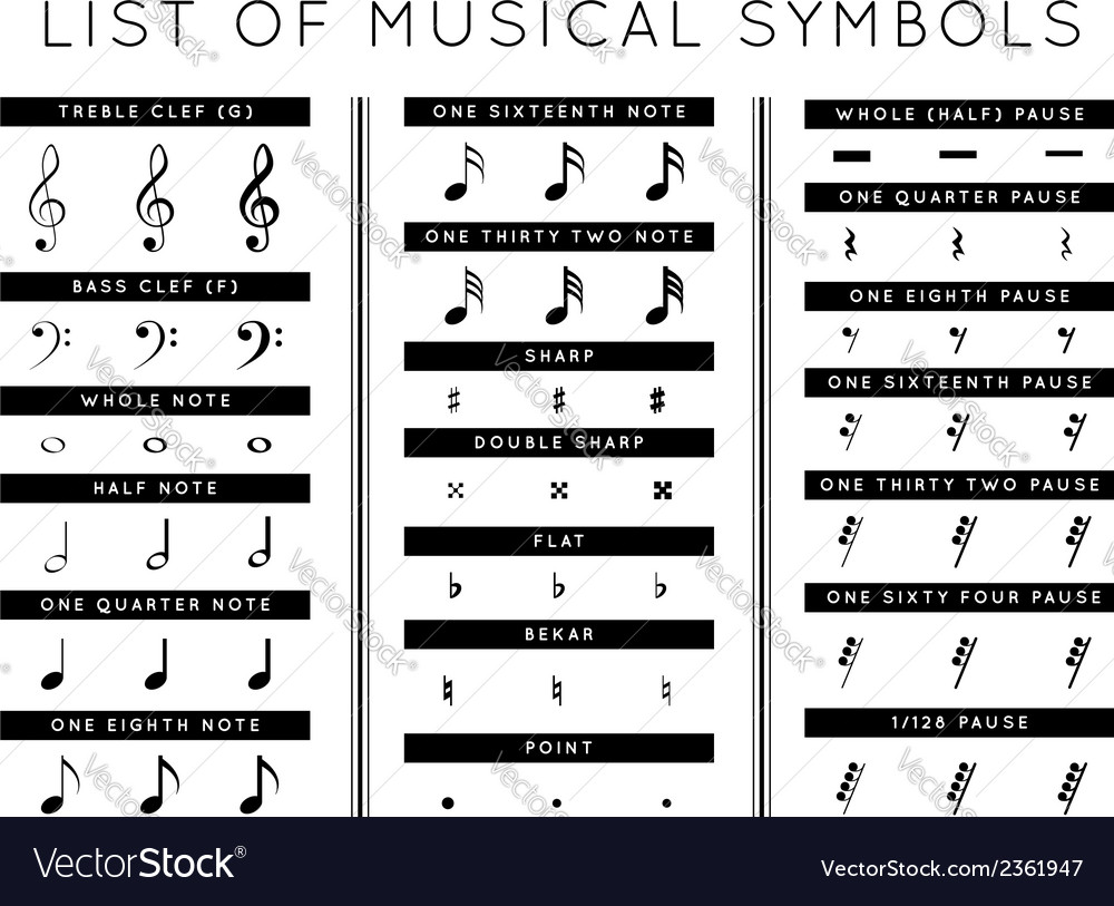 Set of musical symbols vector | Price: 1 Credit (USD $1)