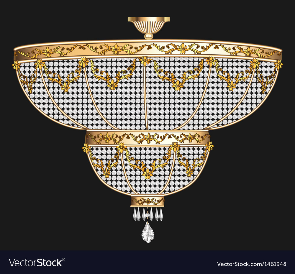 Antique chandelier with crystal pendants vector | Price: 1 Credit (USD $1)
