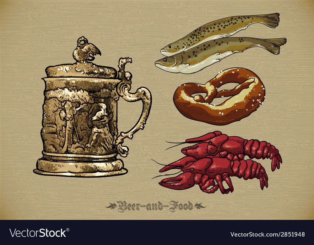 Beer and seafood vector | Price: 1 Credit (USD $1)