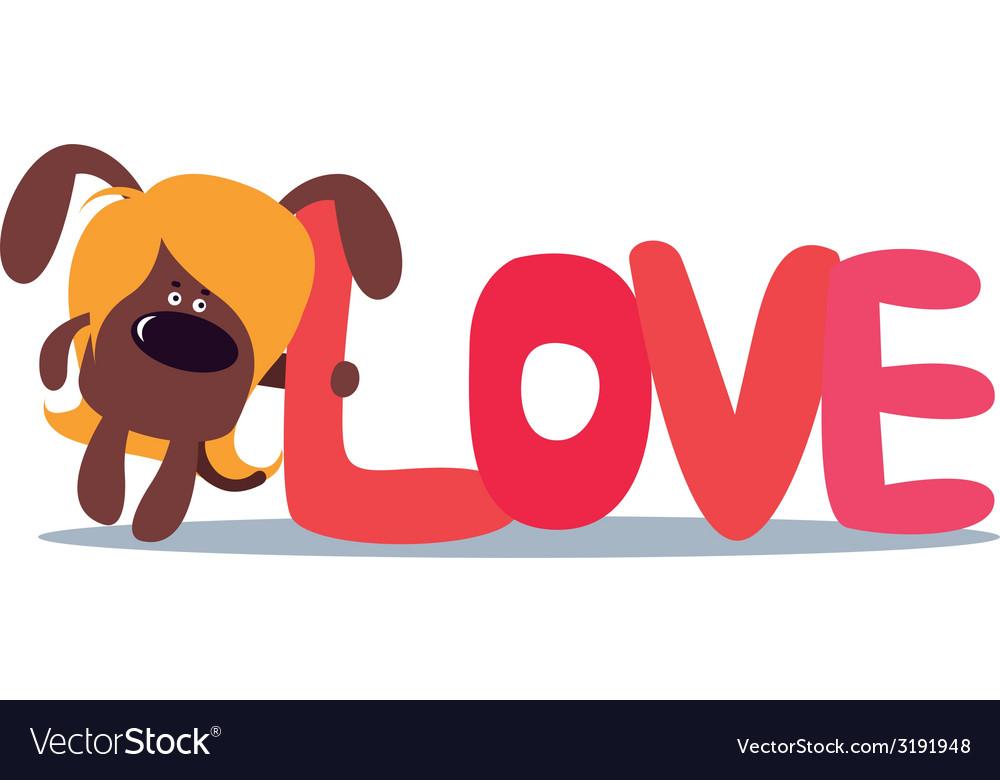Cartoon valentine design with cute dog vector | Price: 1 Credit (USD $1)