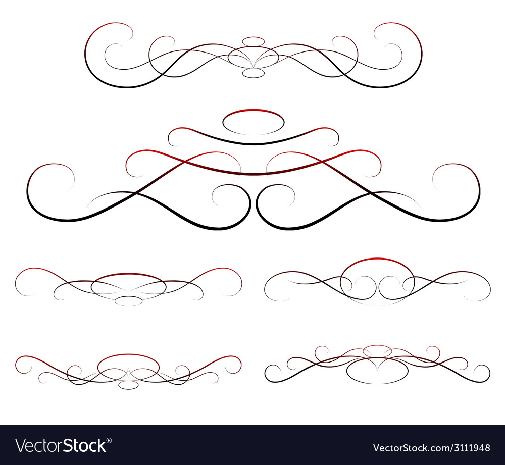 Elements of design calligraphy set vector | Price: 1 Credit (USD $1)