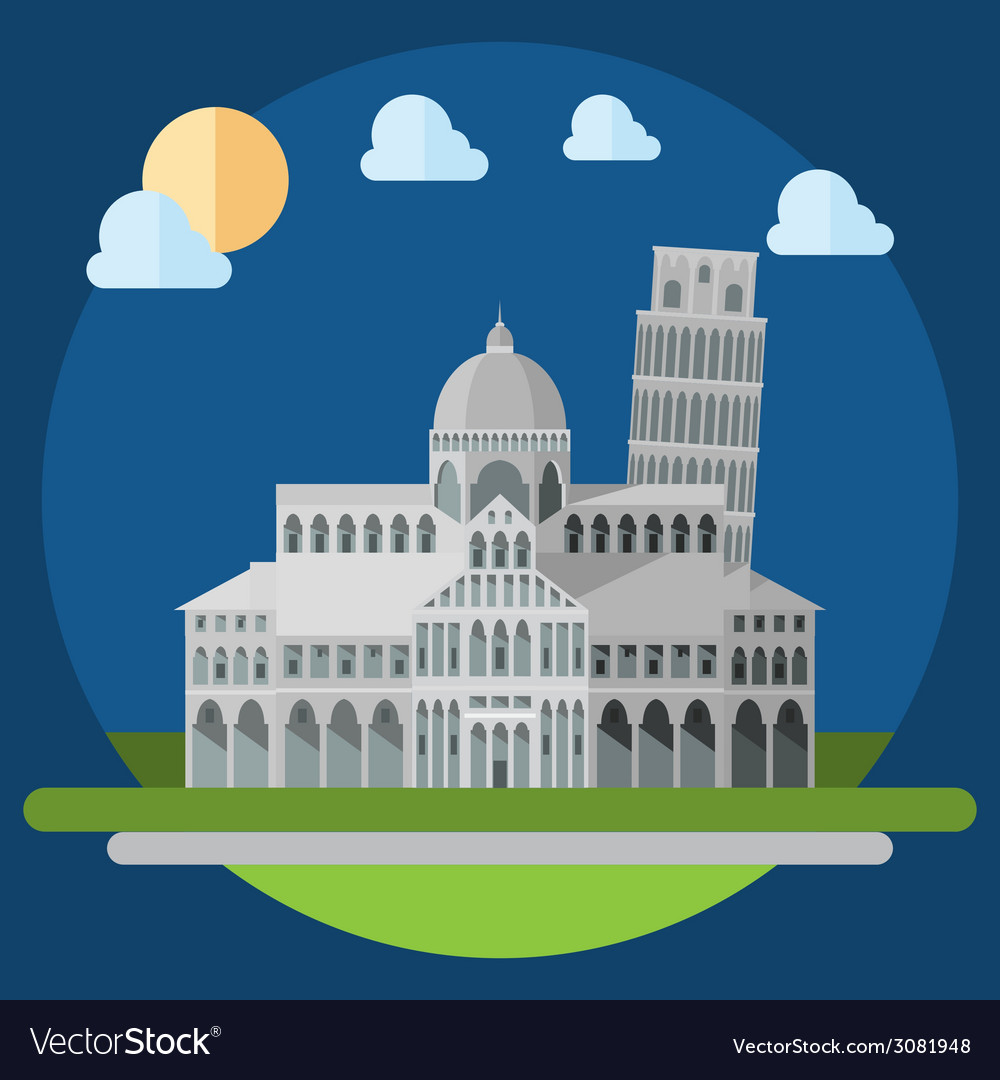 Flat design of piza square buildings vector | Price: 1 Credit (USD $1)
