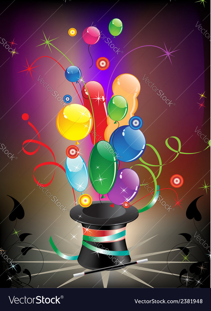 Magic hat and balloons vector | Price: 1 Credit (USD $1)