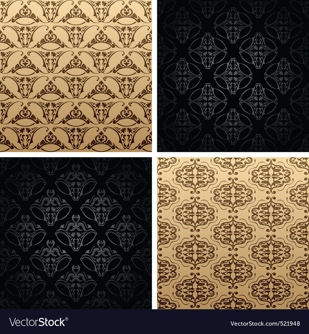 Seamless set four vintage backgrounds ornament wal vector | Price: 1 Credit (USD $1)