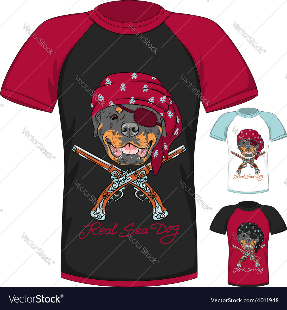T-shirt with rottweiler dog pirate vector | Price: 1 Credit (USD $1)