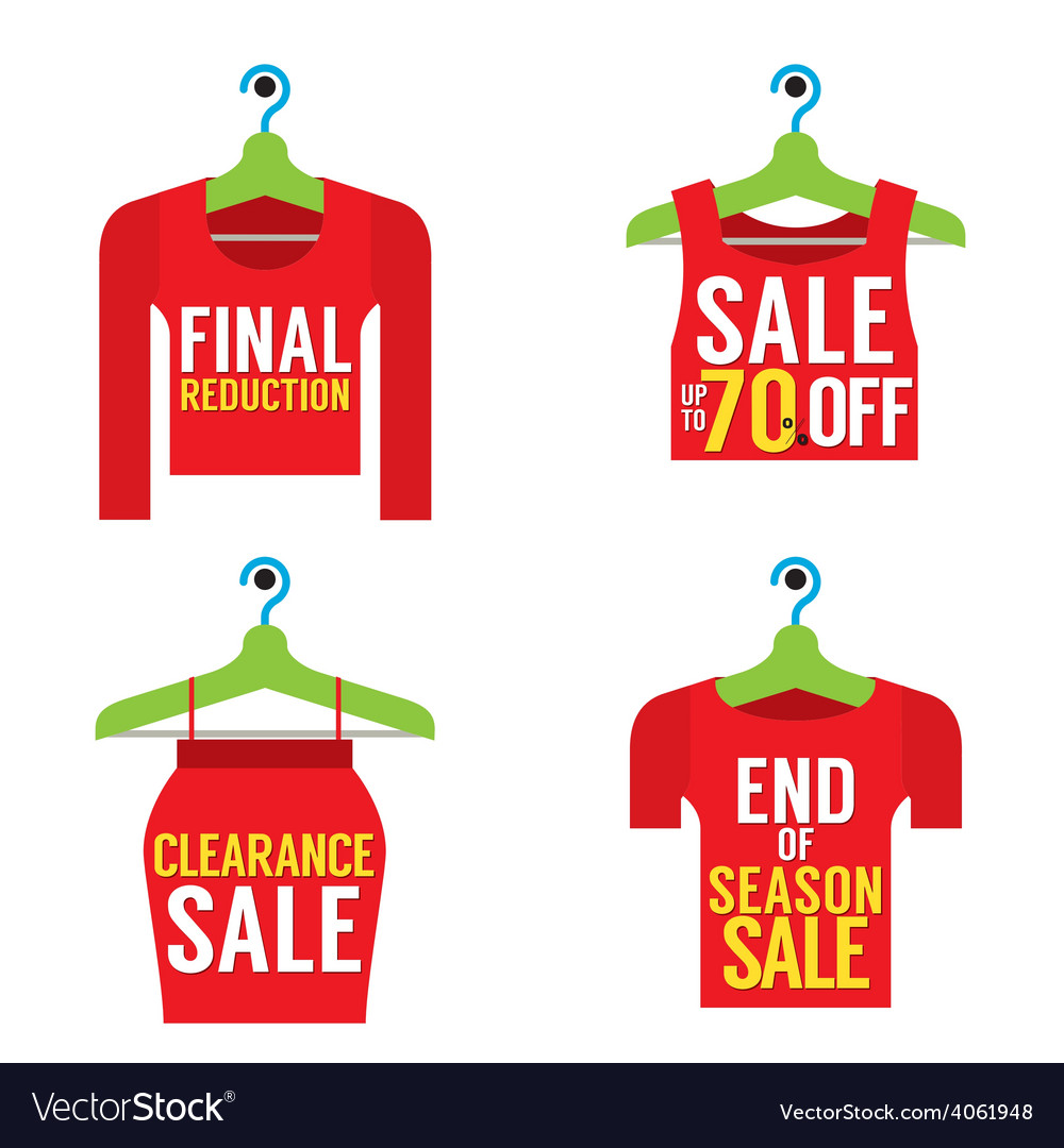 Woman clothes on hanger with sale tag vector | Price: 1 Credit (USD $1)