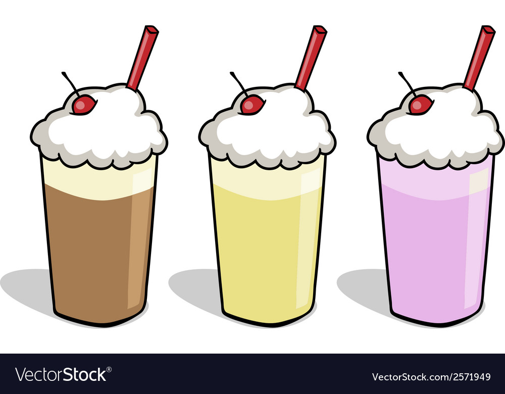 3 milkshake cartoons vector | Price: 1 Credit (USD $1)