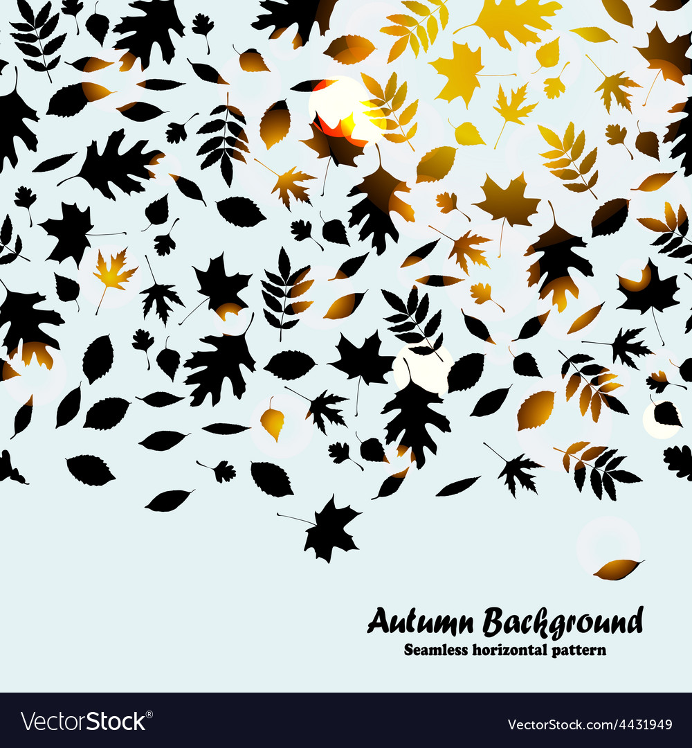 Autumn horizontal pattern background with black vector | Price: 1 Credit (USD $1)