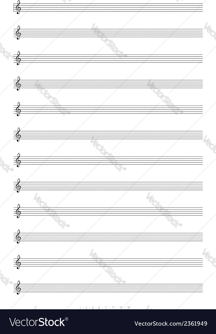 Blank a4 music notes with treble clef vector | Price: 1 Credit (USD $1)