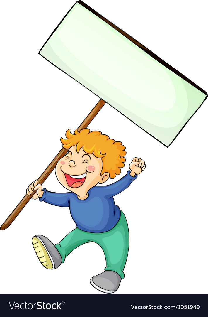 Boy holding white board vector | Price: 3 Credit (USD $3)