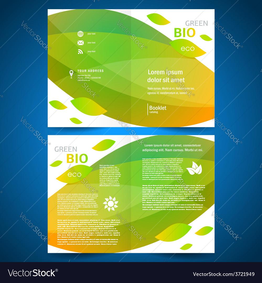 Brochure folder bio eco green leaf nature eco vector | Price: 1 Credit (USD $1)