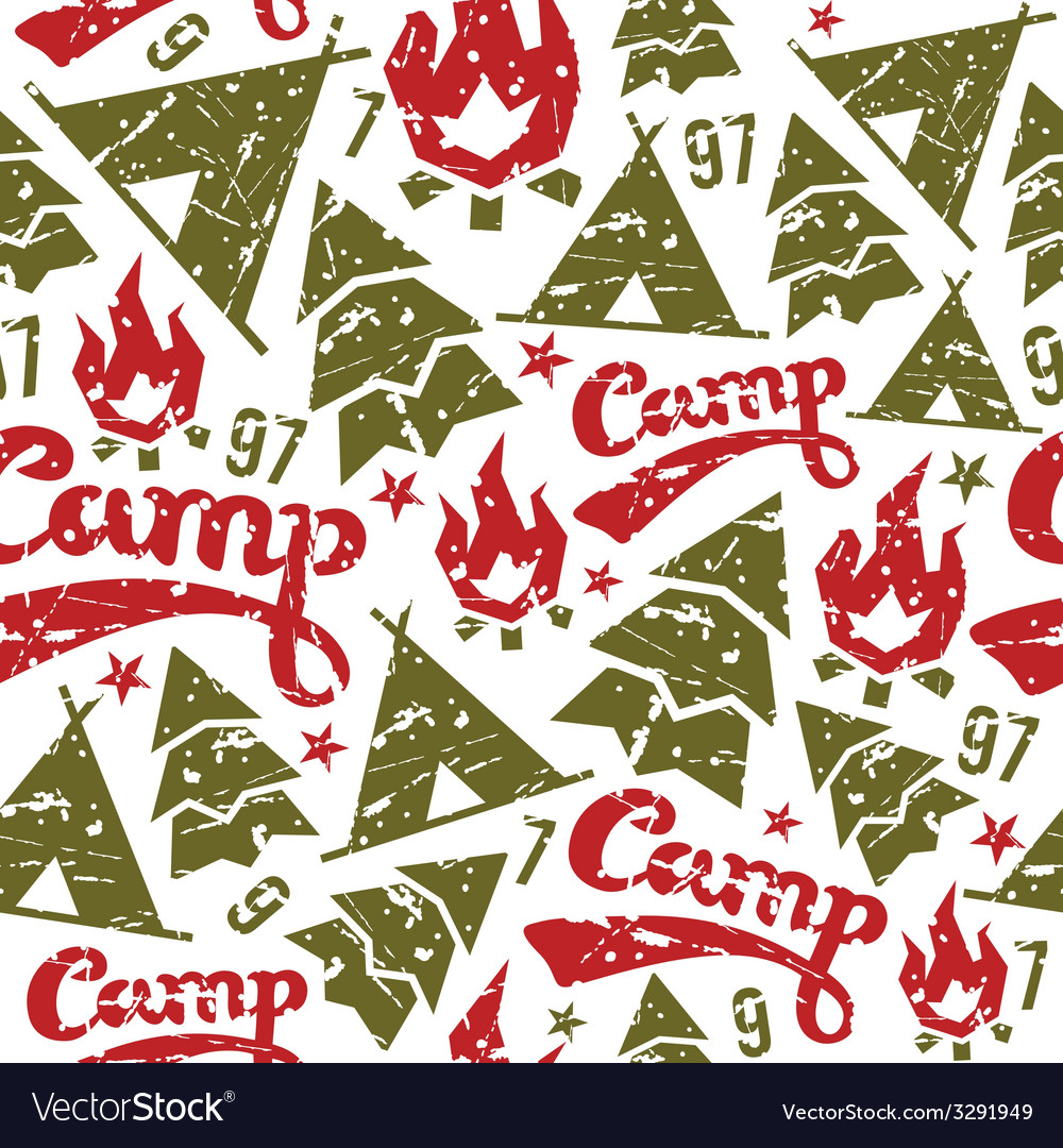 Camping seamless patterns vector | Price: 1 Credit (USD $1)