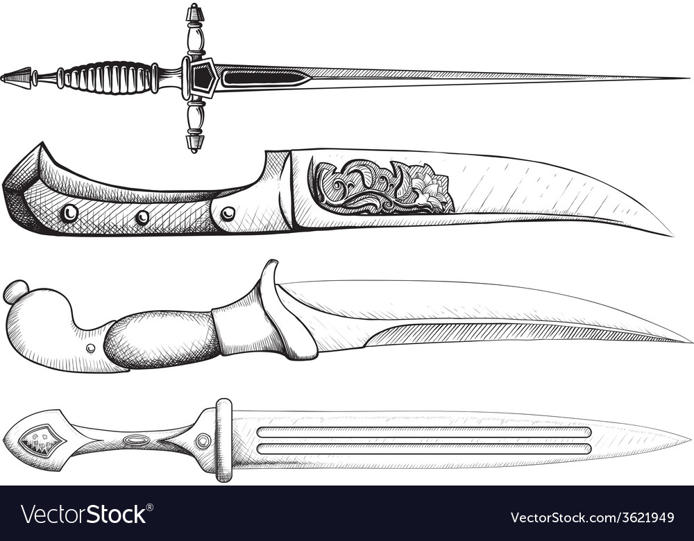 Dagger set vector | Price: 1 Credit (USD $1)