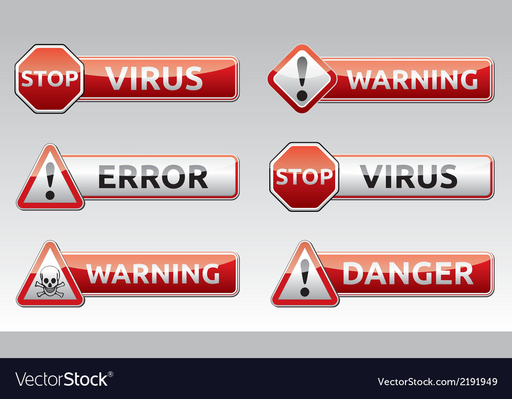 Danger virus warning icon vector | Price: 1 Credit (USD $1)