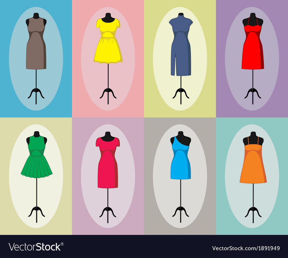 Different vintage dresses on a mannequin vector | Price: 1 Credit (USD $1)