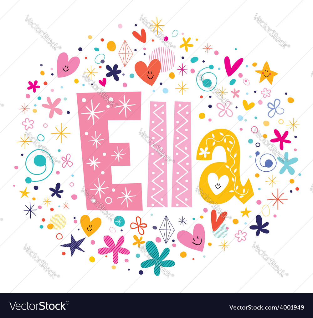 Ella female name decorative lettering type design vector | Price: 1 Credit (USD $1)