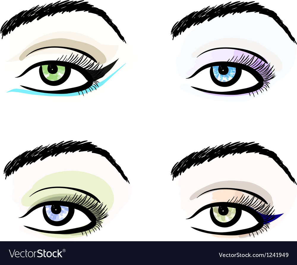 Eye make up stylized pattern sketches set vector