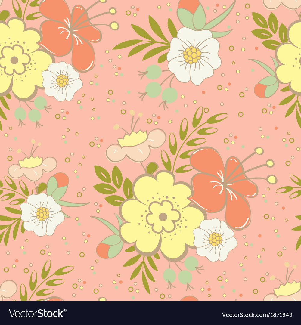 Floral saemless orange vector | Price: 1 Credit (USD $1)