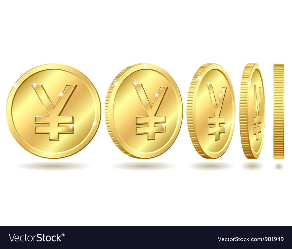 Golden coin with yen sign vector | Price: 3 Credit (USD $3)