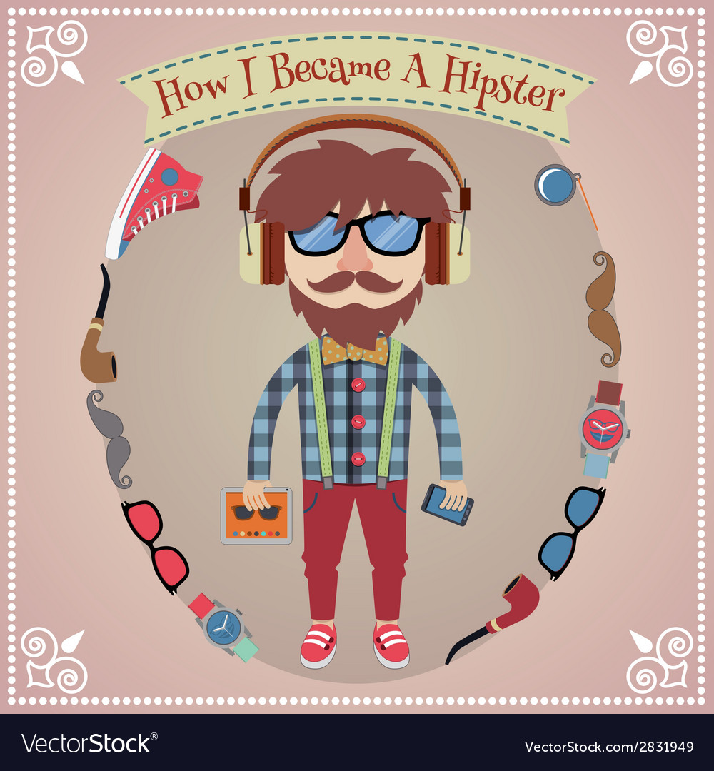 Hipster boy poster vector | Price: 1 Credit (USD $1)