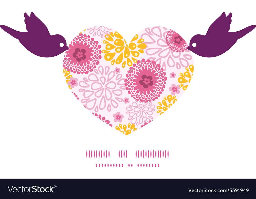 Pink field flowers birds holding heart silhouette vector | Price: 1 Credit (USD $1)