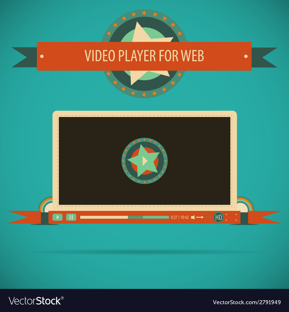 Retro vintage video player interface for web vector | Price: 1 Credit (USD $1)