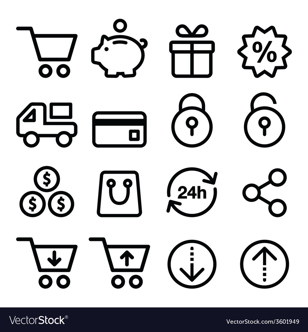 Shopping online store icons set line stroke vector