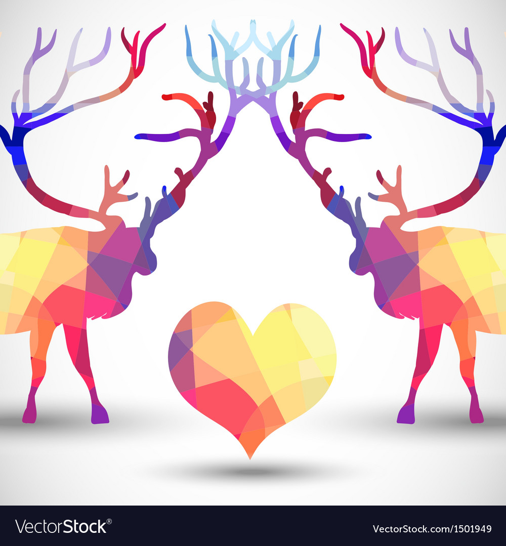 Silhouette a deer of geometric shapes with heart vector | Price: 1 Credit (USD $1)