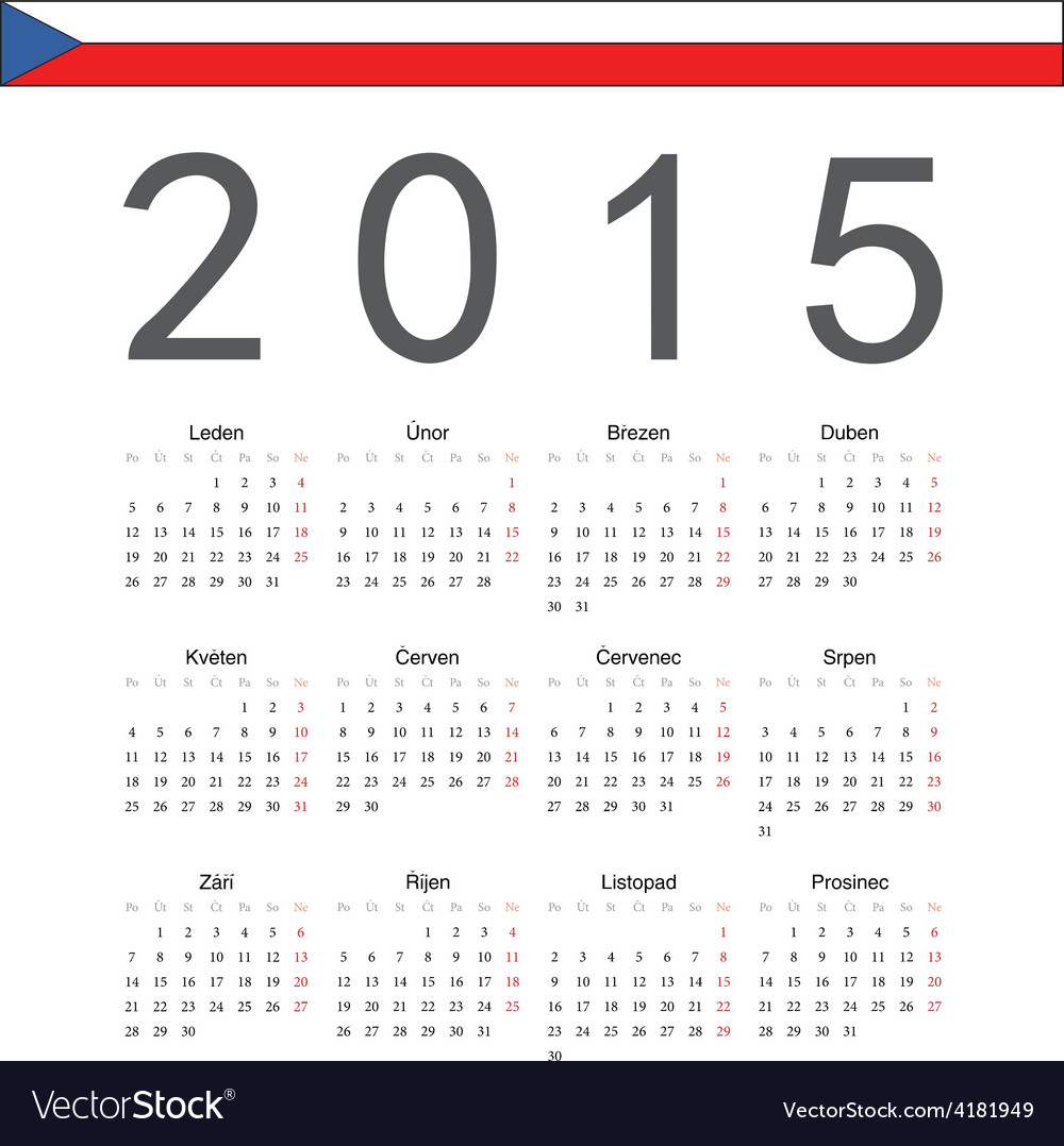 Square czech 2015 year calendar vector | Price: 1 Credit (USD $1)