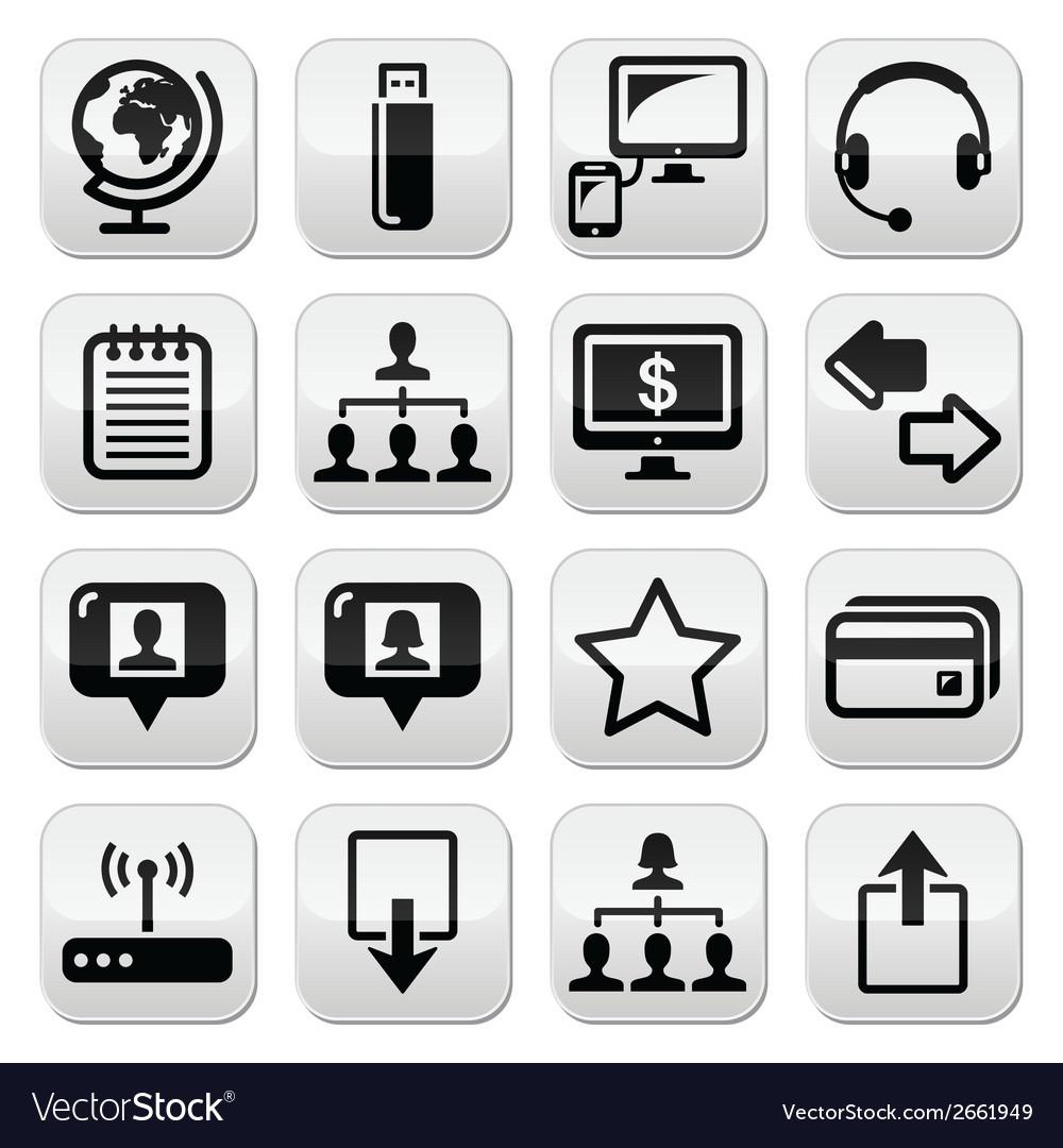 Web internet simple black buttons set vector | Price: 1 Credit (USD $1)