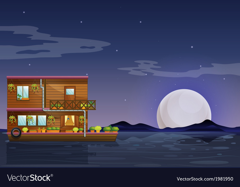 A boathouse floating in the middle of the night vector | Price: 1 Credit (USD $1)