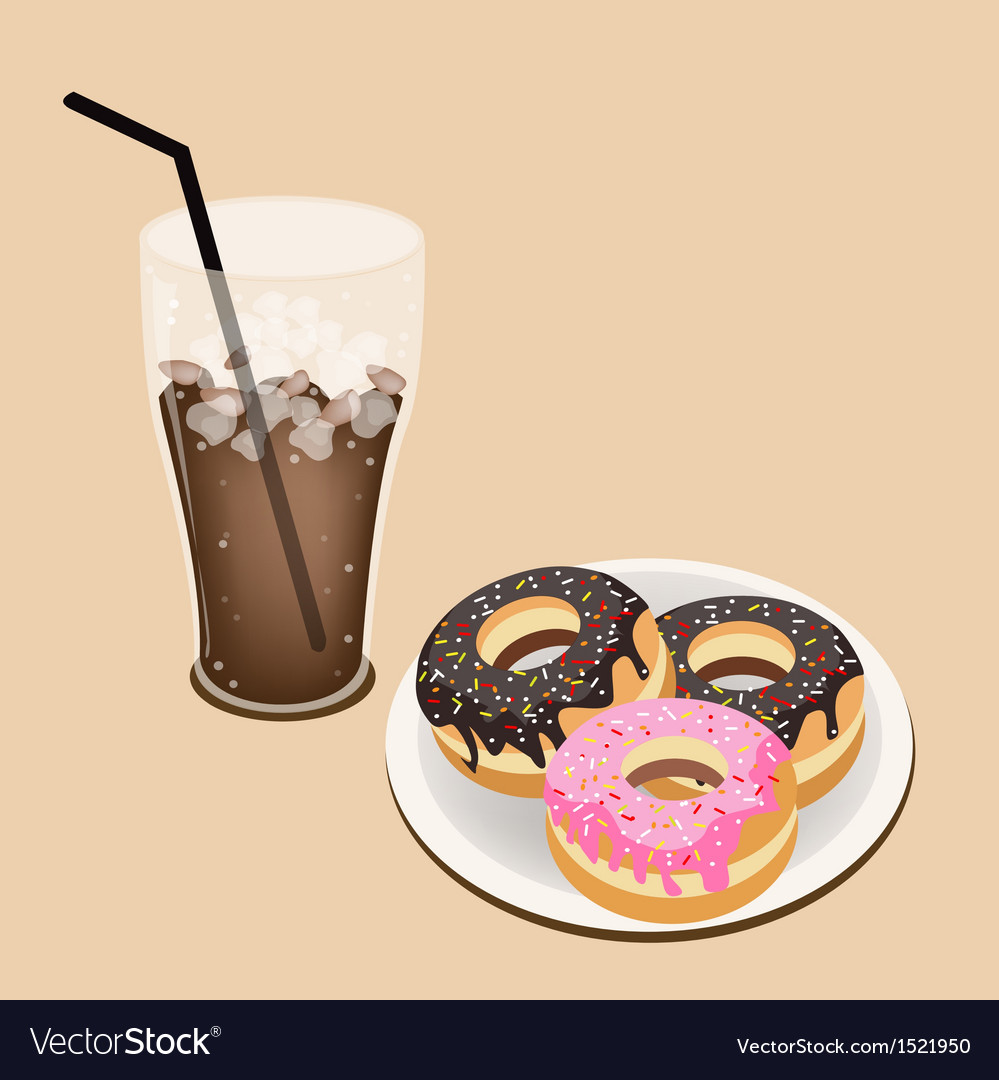 A delicious iced coffee with glazed donuts vector | Price: 1 Credit (USD $1)