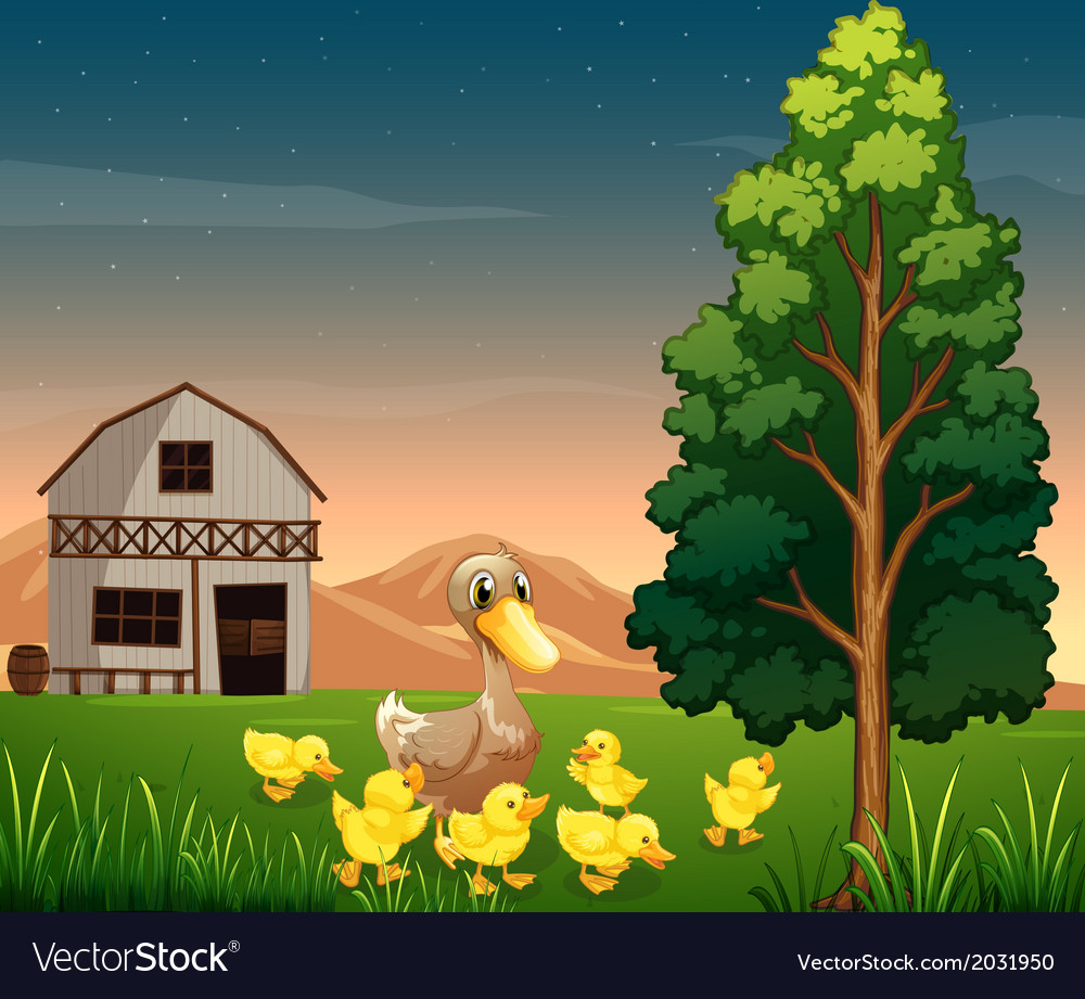 A duck and her ducklings across the barnhouse at vector | Price: 3 Credit (USD $3)