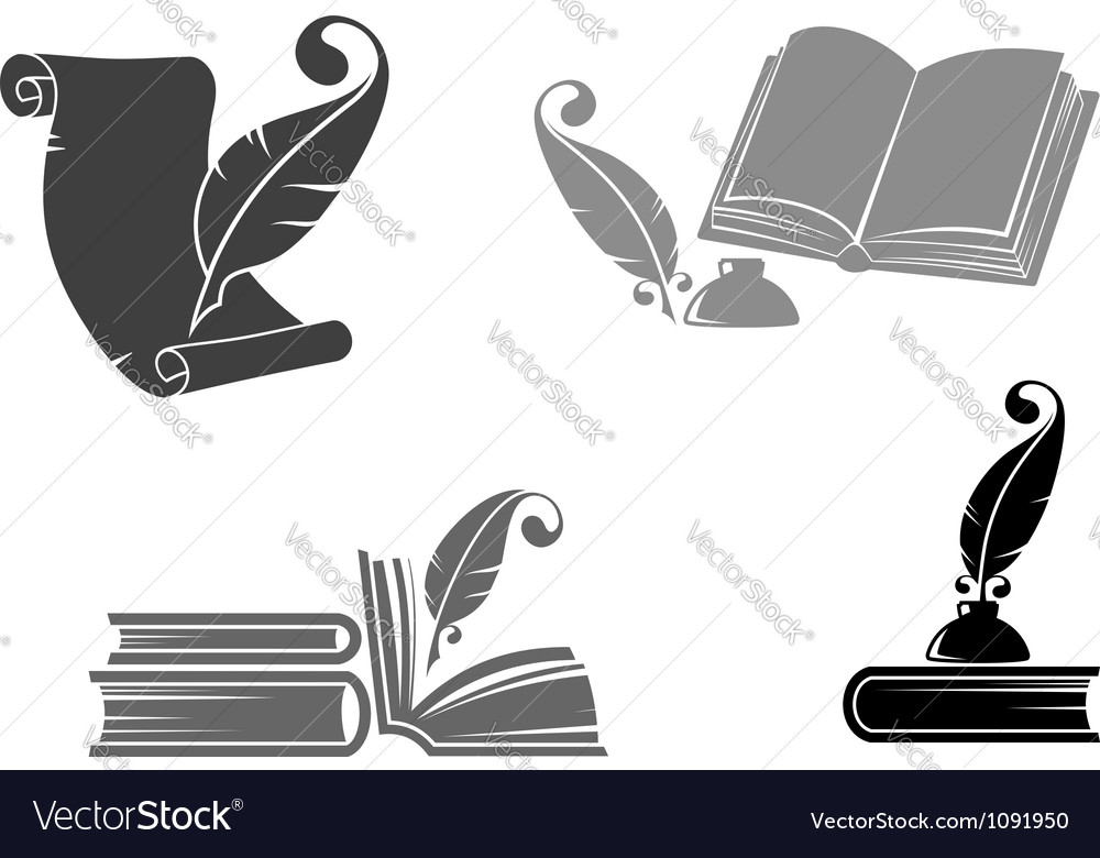 Books and quills vector | Price: 1 Credit (USD $1)