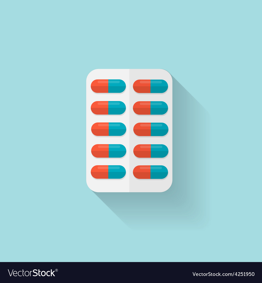 Flat medical pills icon tablets symbol health vector | Price: 1 Credit (USD $1)