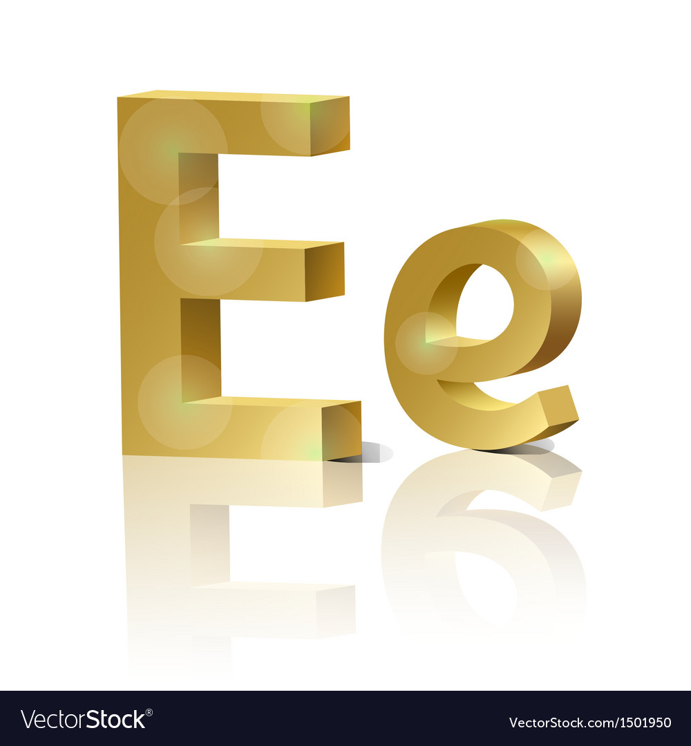 Golden letter e vector | Price: 1 Credit (USD $1)