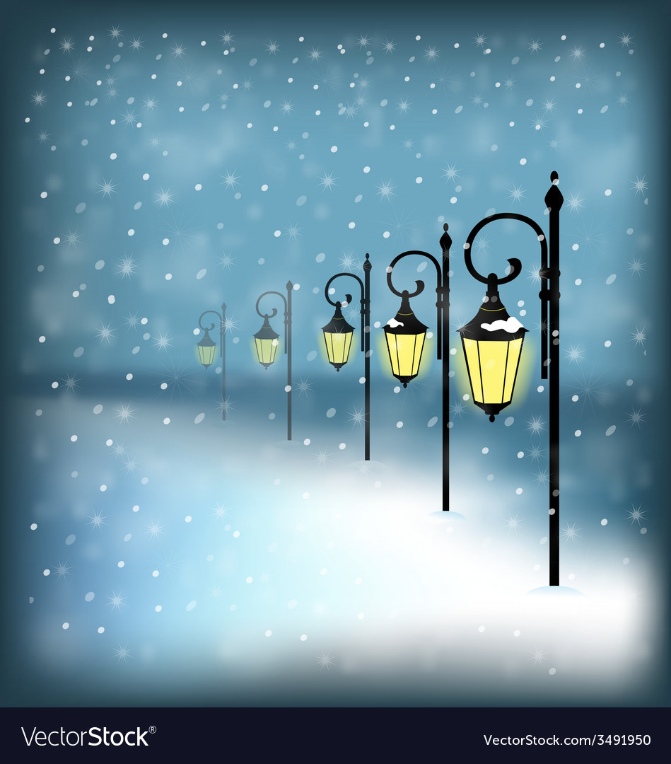 Lanterns stand in snowfall on blue vector | Price: 1 Credit (USD $1)