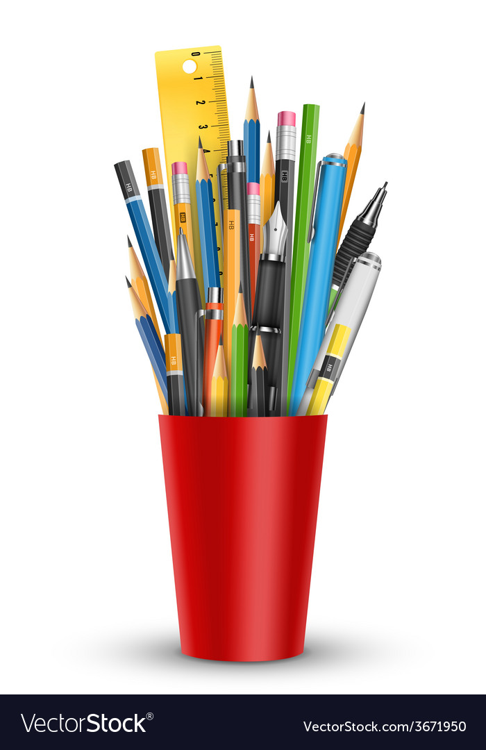 Pen and pencils in glass vector | Price: 1 Credit (USD $1)