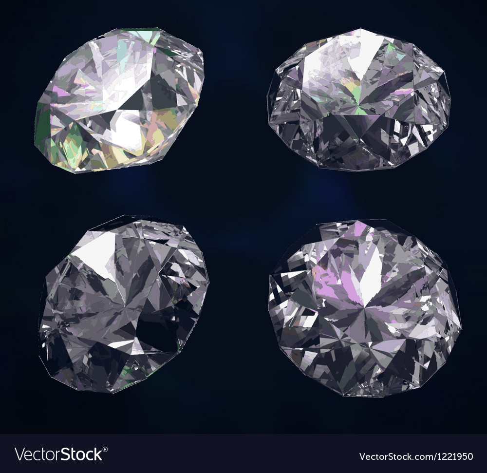 Set of four colored gems vector | Price: 1 Credit (USD $1)