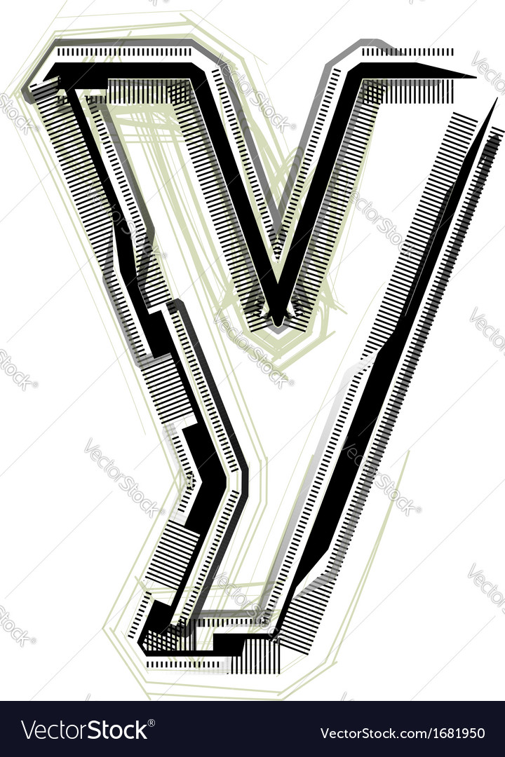 Technological font letter y vector | Price: 1 Credit (USD $1)