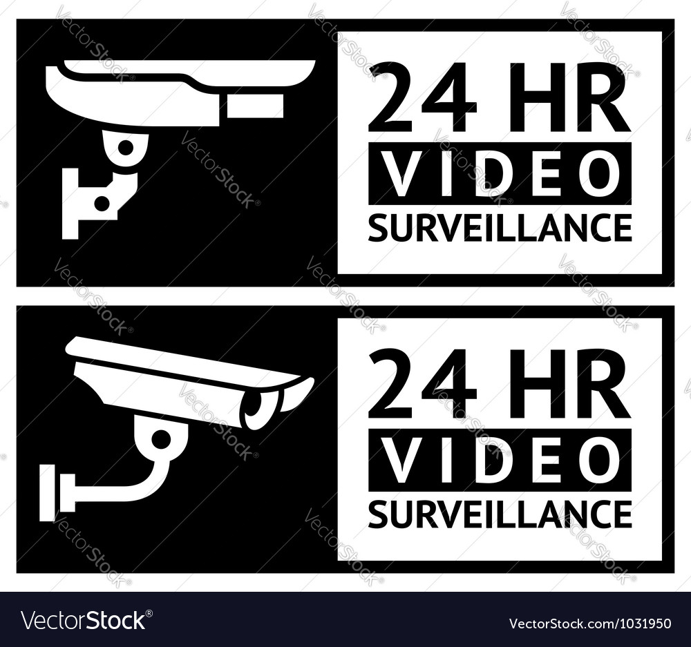 Video surveillance stickers vector | Price: 1 Credit (USD $1)