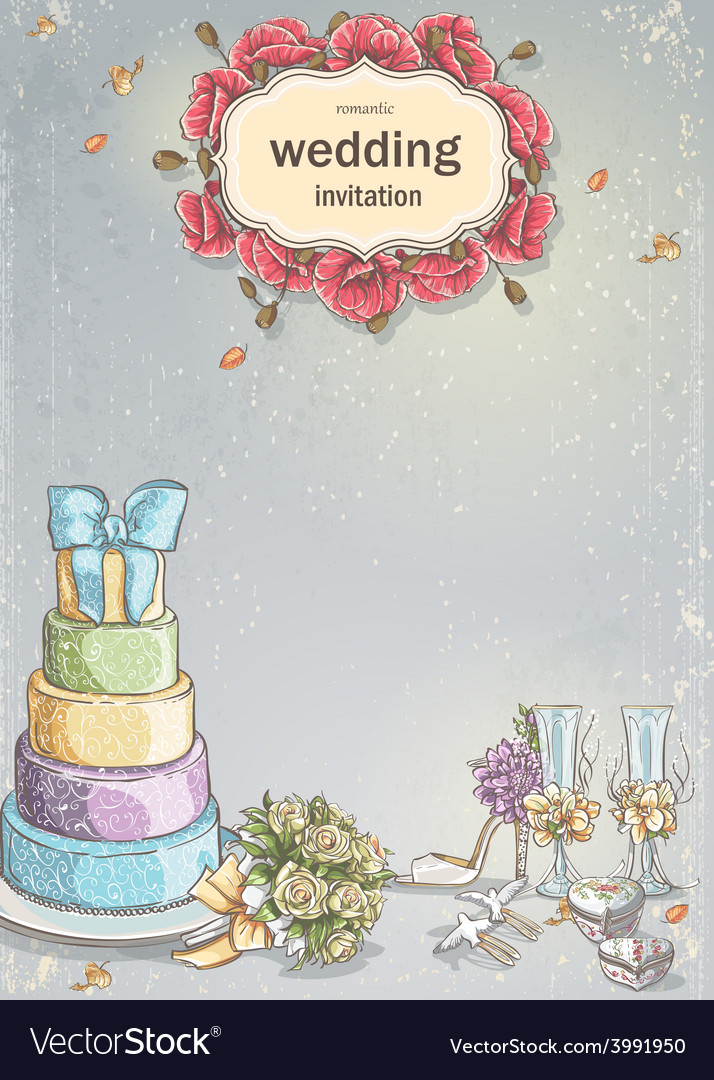 Wedding invitation with a picture of wedding items vector | Price: 1 Credit (USD $1)